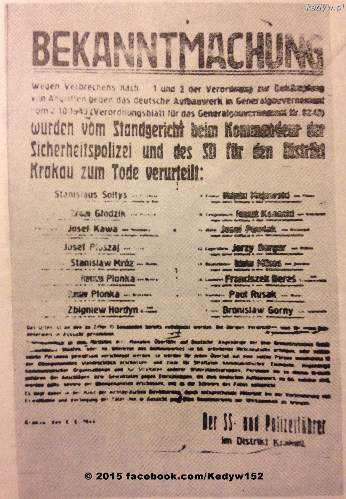 """Niemiecki afisz śmierci na którym jest umieszczony """"Cichociemny"""" Stanislaw Sołtys ps. """"Wójt""""."""