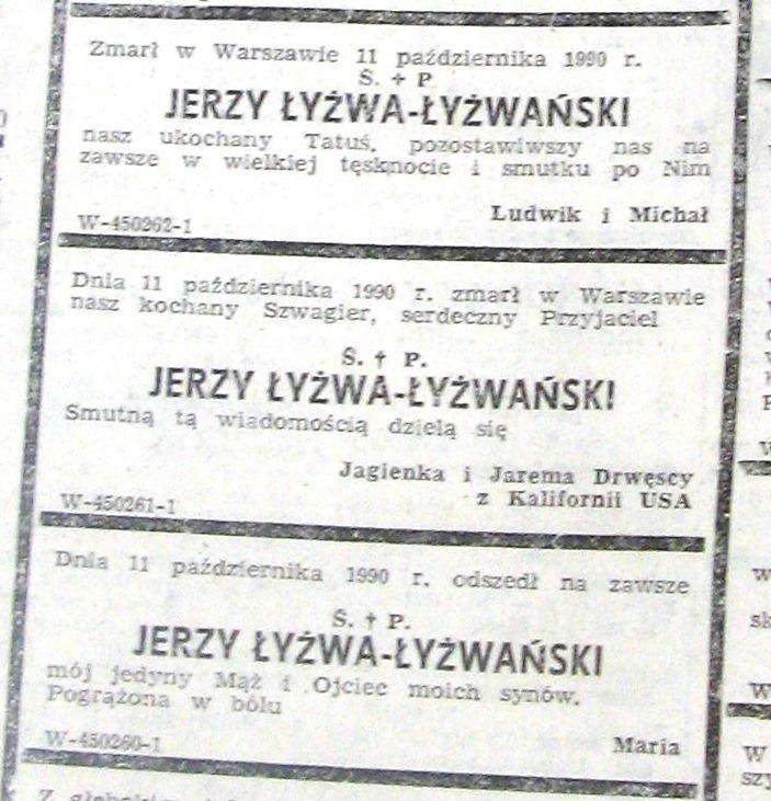 """Ogłoszenia rodziny z gazety """"Życie Warszawy"""""""