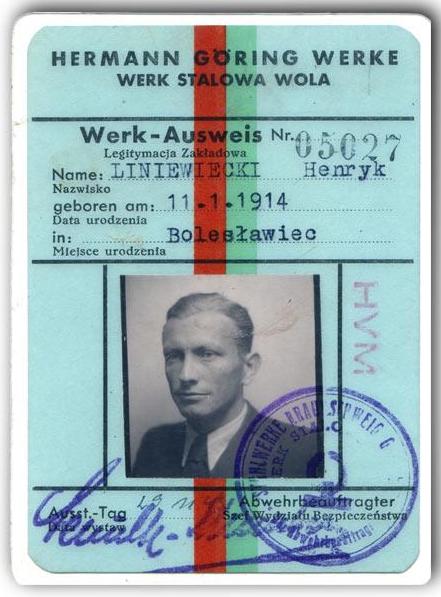Legitamcja z Zakładów Południowych w Stalowej Woli. (fot. zbiory rodzinne Liniewieckich)