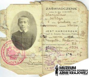 Legitymacja harcerska Stanisława Sołtysa (fot. A.Gardulska/M.Biesiada)